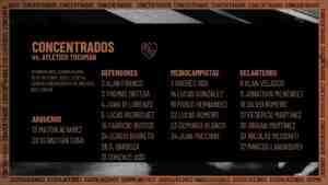 La lista de concentrados de Independiente para jugar el jueves ante Atlético Tucumán.