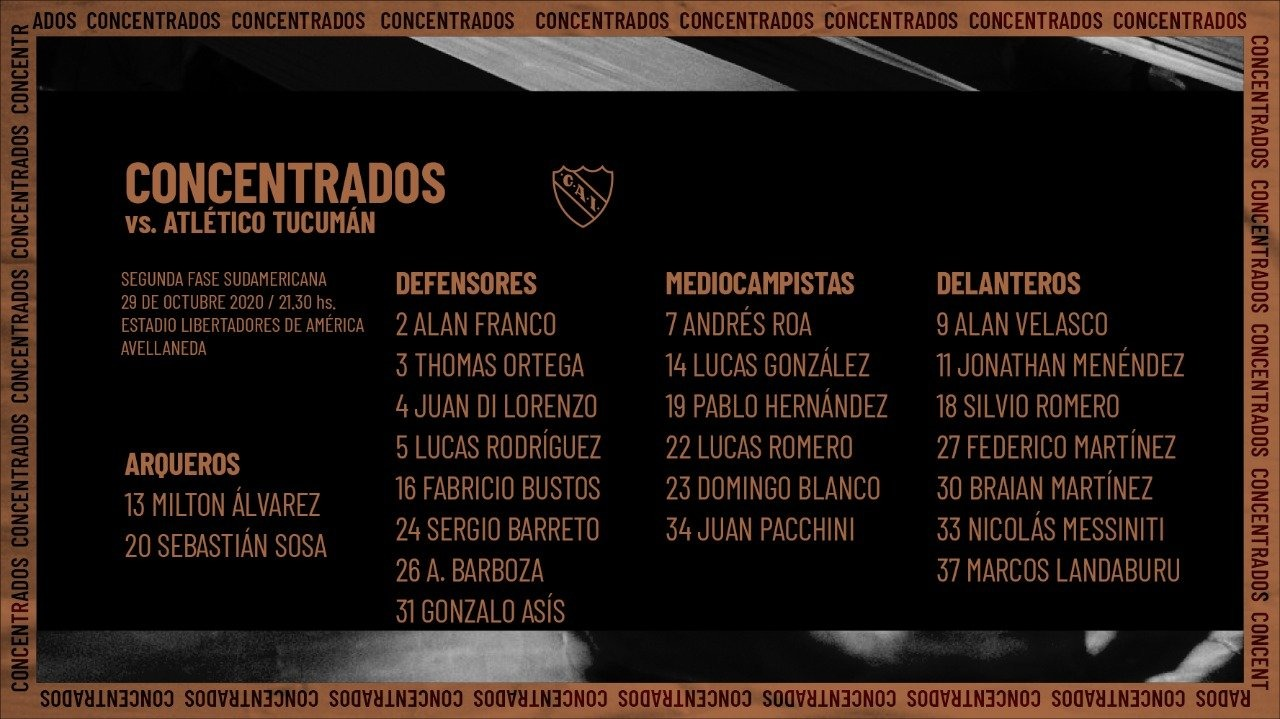 Concentrados ante Atlético Tucumán.